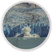 Dawes Glacier Calving #1 Round Beach Towel