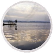 Dawn On Inle Lake Round Beach Towel