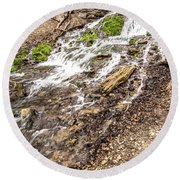 Decorah Iowa Waterfall Round Beach Towel