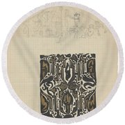 Decorative Design And Sketch Of The Front Tympanum Of The Royal Palace In Amsterdam, Carel Adolph Li Round Beach Towel