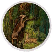Deer In The Forest, 1868 Round Beach Towel