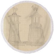 Design For A Monumental Bank In Honor Of Mayor Of Haarlem Cornelis Maarschalk Of Egmond And Rinnegom Round Beach Towel