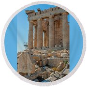 Detail Of The Acropolis Of Athens, Greece Round Beach Towel