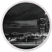 Detroit River Walk Panorama Round Beach Towel