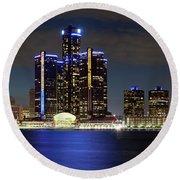 Detroit Skyline Panorama Round Beach Towel