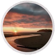 Devils Kitchen Sunset Round Beach Towel