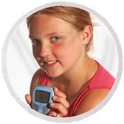Diabetic Child With Blood Glucose Tester Round Beach Towel