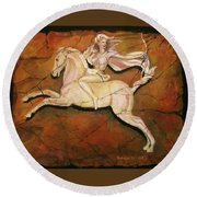 Diana The Huntress Round Beach Towel