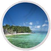 Diniwid Beach In Tropical Paradise Boracay Philippines Round Beach Towel