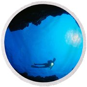 Diver At Cavern Entrance Round Beach Towel