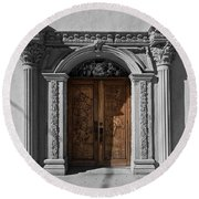 Doorway Of The Santa Teresa De Jesus Church Round Beach Towel