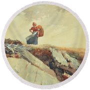 Down The Cliff Round Beach Towel by Winslow Homer