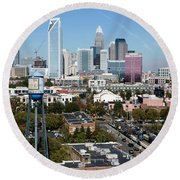 Downtown Charlotte North Carolina From The South End Round Beach Towel
