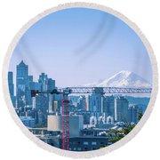 Downtown Cityscape View Of Seattle Washington Round Beach Towel