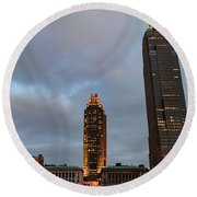 Downtown Cleveland At Dusk Round Beach Towel