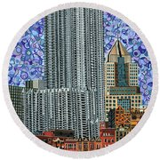 Downtown Pittsburgh - View From Smithfield Street Bridge Round Beach Towel