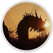 Dragon At Dawn Round Beach Towel