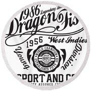 Dragon Fist 1986 Round Beach Towel