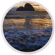 Dramatic Sunset Oregon Coast Usa Round Beach Towel