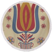 """Drawing For Plate 9: From The Portfolio """"folk Art Of Rural Pennsylvania"""" Round Beach Towel"""