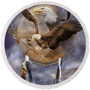 Dream Catcher - Spirit Eagle 2 Round Beach Towel