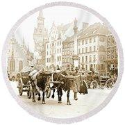 Dresden, Altmarkt Square, Germany, 1903 Round Beach Towel