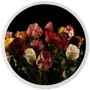 Dried Roses Round Beach Towel