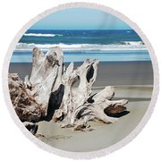 Driftwood On Beach Round Beach Towel