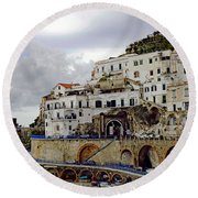 Driving The Amalfi Coast In Italy Round Beach Towel