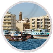 Dubai Creek And Abra Boats Round Beach Towel