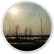 Dusk In The Wetlands Round Beach Towel