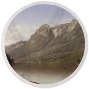 Eagle Cliff At Franconia Notch In New Hampshire Round Beach Towel