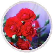Early Morning Roses Round Beach Towel
