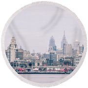 Early Morning Sunrise Over Philadelphia Pennsylvania Round Beach Towel