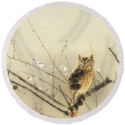 Early Plum Blossoms Round Beach Towel