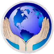 Earth In The Your Hands Round Beach Towel