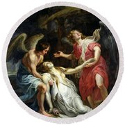 Ecstasy Of Mary Magdalene Round Beach Towel