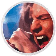 Eddie Vedder Round Beach Towel by Gordon Dean II