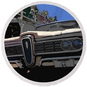 Edsel On Route 66 Round Beach Towel