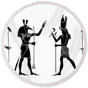 Egyptian Gods Round Beach Towel