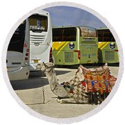 Egyptian Parking Lot Round Beach Towel