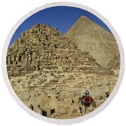 Egypt's Pyramids Of Giza Round Beach Towel