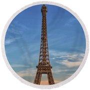 Eiffel Tower In France Round Beach Towel