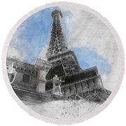 Eiffel Tower Of Paris Round Beach Towel