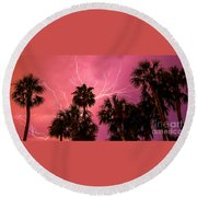 Electrified Palms Round Beach Towel