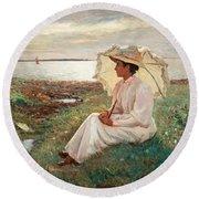 Elegant Lady By The Sea Round Beach Towel