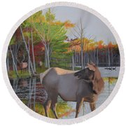 Elk Country Evening Round Beach Towel