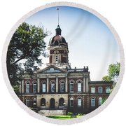 Elkhart County Courthouse - Goshen, Indiana Round Beach Towel