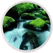 Elowah Falls Columbia River Gorge National Scenic Area Oregon Round Beach Towel