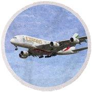 Emirates A380 Airbus Oil Round Beach Towel